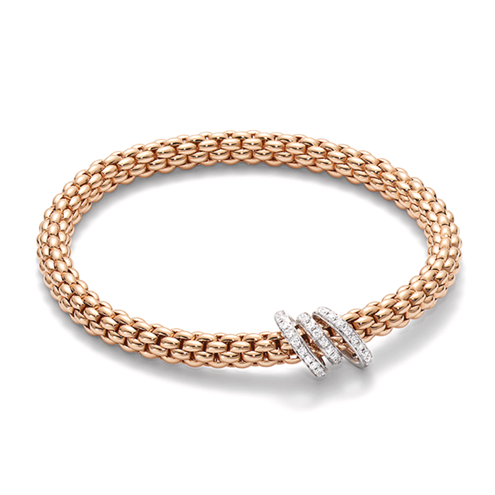 Fope Solo 18ct Rose Gold Bracelet With Diamond Set Rondels