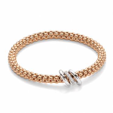 SOLO 18ct Rose Gold Bracelet with Plain & Diamond Set Rondels