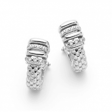 Virginia 18ct White Gold Earrings With Plain & Diamond Set Rondels