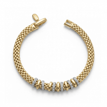 Virginia 18ct Yellow Gold Bracelet With Yellow Gold Plain & White Gold Diamond Set Rondels
