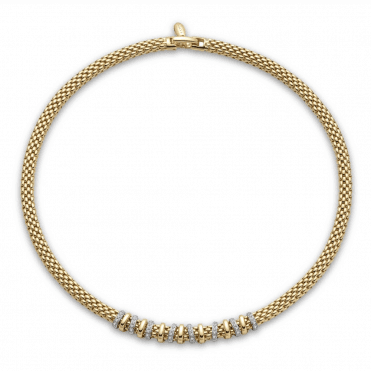 Virginia 18ct Yellow Gold Necklace with 18ct Yellow Gold Plain & 18ct White Gold Diamond Set Rondels