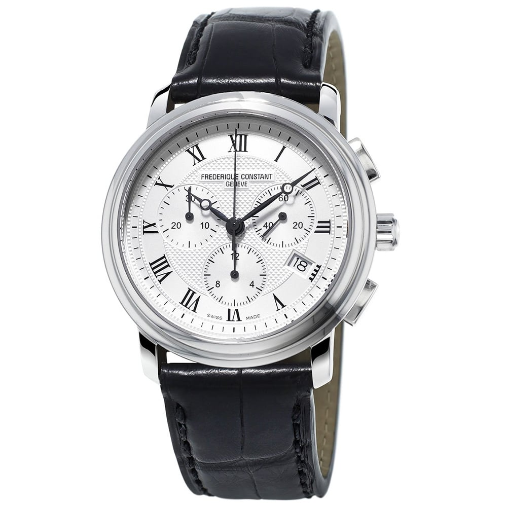 Frederique constant classics 40mm silver roman dial chronograph watch for Watches 40mm