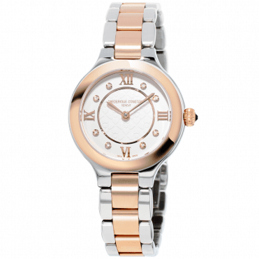 Classics Delight Silver Guilloche Diamond Dial Two Tone Ladies Watch