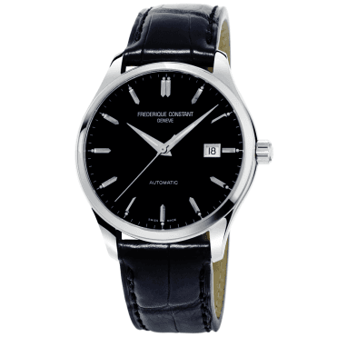 Classics Index Black Dial Leather Strap Watch
