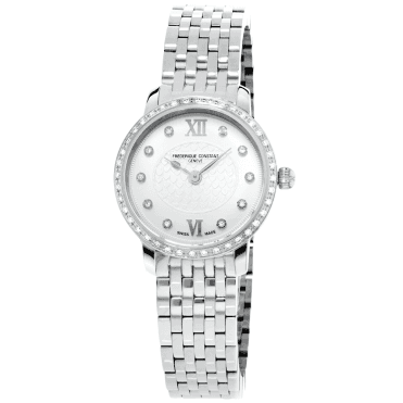Slimline Mini Stainless Steel Diamond Set Bezel Ladies Watch