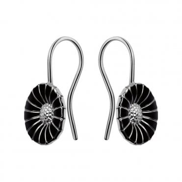 Daisy Sterling Silver & Black Enamel Earrings