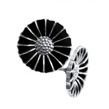 Daisy Sterling Silver & Black Enamel Stud Earrings