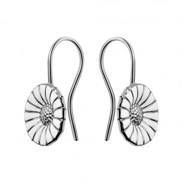 Daisy Sterling Silver & White Enamel Earrings