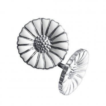 Daisy Sterling Silver & White Enamel Stud Earrings