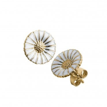 Daisy Yellow Gold Plate & White Enamel Silver Stud Earrings
