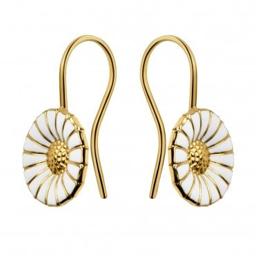 Daisy Yellow Gold Plated & White Enamel Earrings
