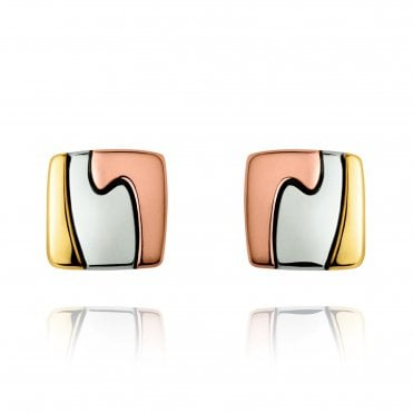 Fusion 18ct Yellow White & Rose Gold Earrings