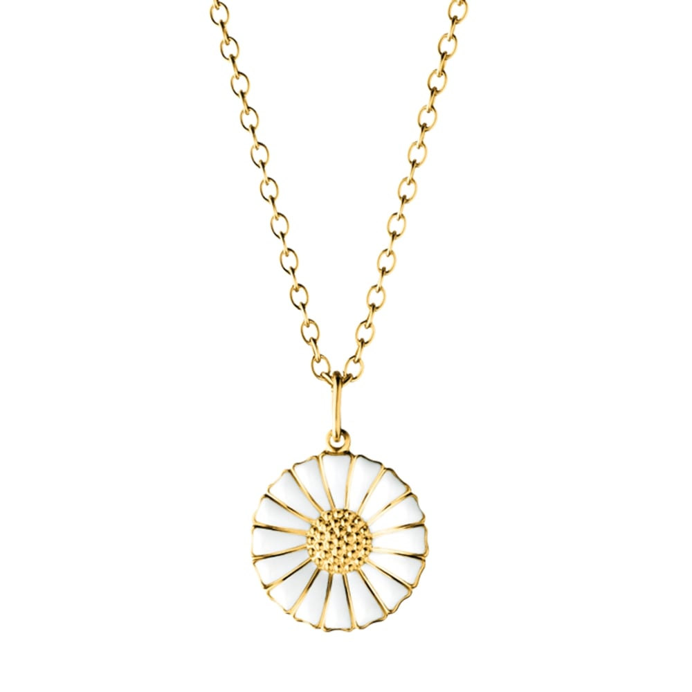 Georg jensen gold plated daisy pendant with white enamel gold plated daisy pendant with white enamel aloadofball