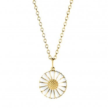 Gold Plated Daisy Pendant with White Enamel
