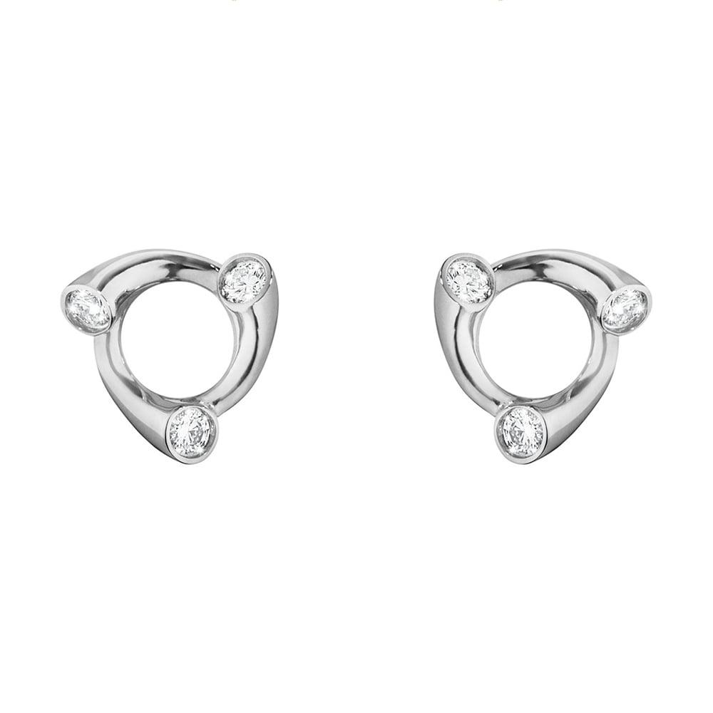 Georg Jensen Magic 18ct White Gold Diamond Set Stud Earrings 10009516