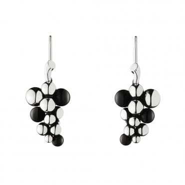 Moonlight Grapes Silver & Black Agate Drop Earrings