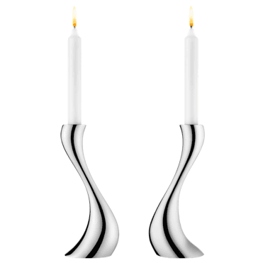 Pack of Two Stainless Steel Medium Cobra Candle Holders
