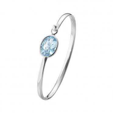 Savannah Sterling Silver & Blue Topaz Bangle