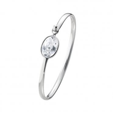 Savannah Sterling Silver & Rock Crystal Bangle