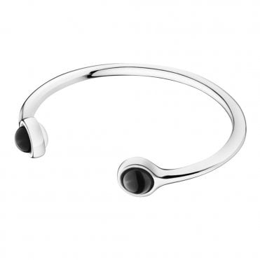 Sphere Silver And Black Agate Torque Bangle