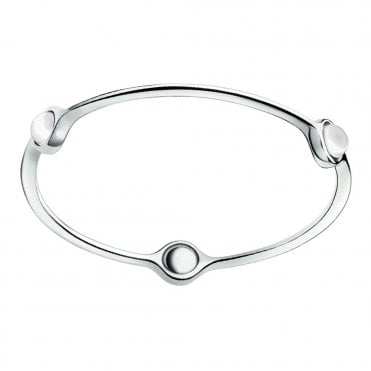 Sphere Silver Bangle With White Pearls