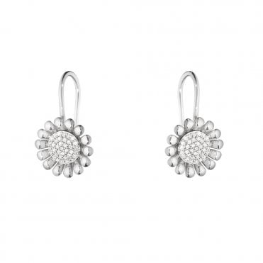 Sunflower Sterling Silver And Diamond Earrings