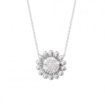 Sunflower Sterling Silver And Diamond Necklace