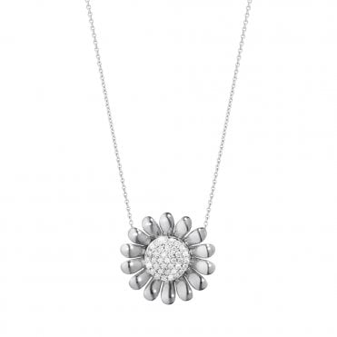 Sunflower Sterling Silver & Diamond Set Pendant