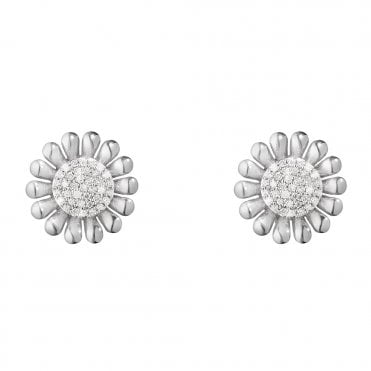 Sunflower Sterling Silver & Diamond Set Stud Earrings