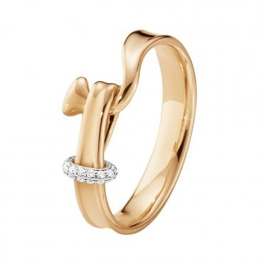 Georg Jensen Torun 18ct Rose & White Gold Diamond Set Ring