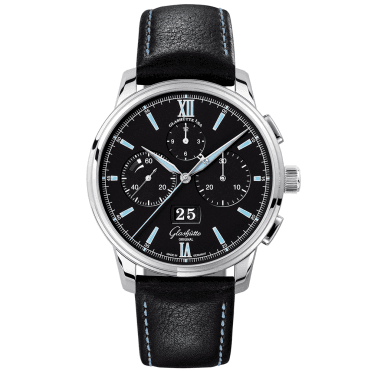 Senator 42mm Panorama Date Black/Blue Dial Chronograph Watch