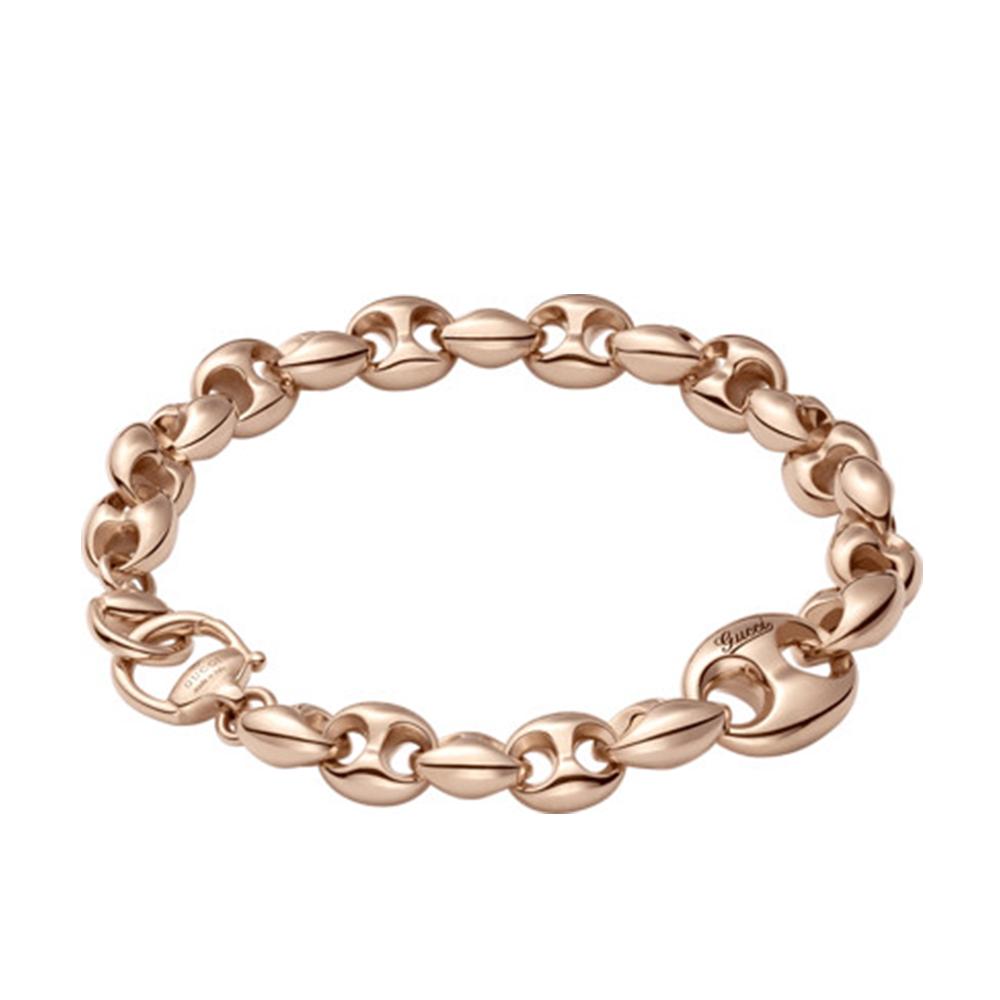 gucci 18ct pink gold horsebit marina chain bracelet