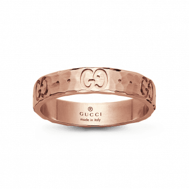 18ct Rose Gold Icon Hammered Ring