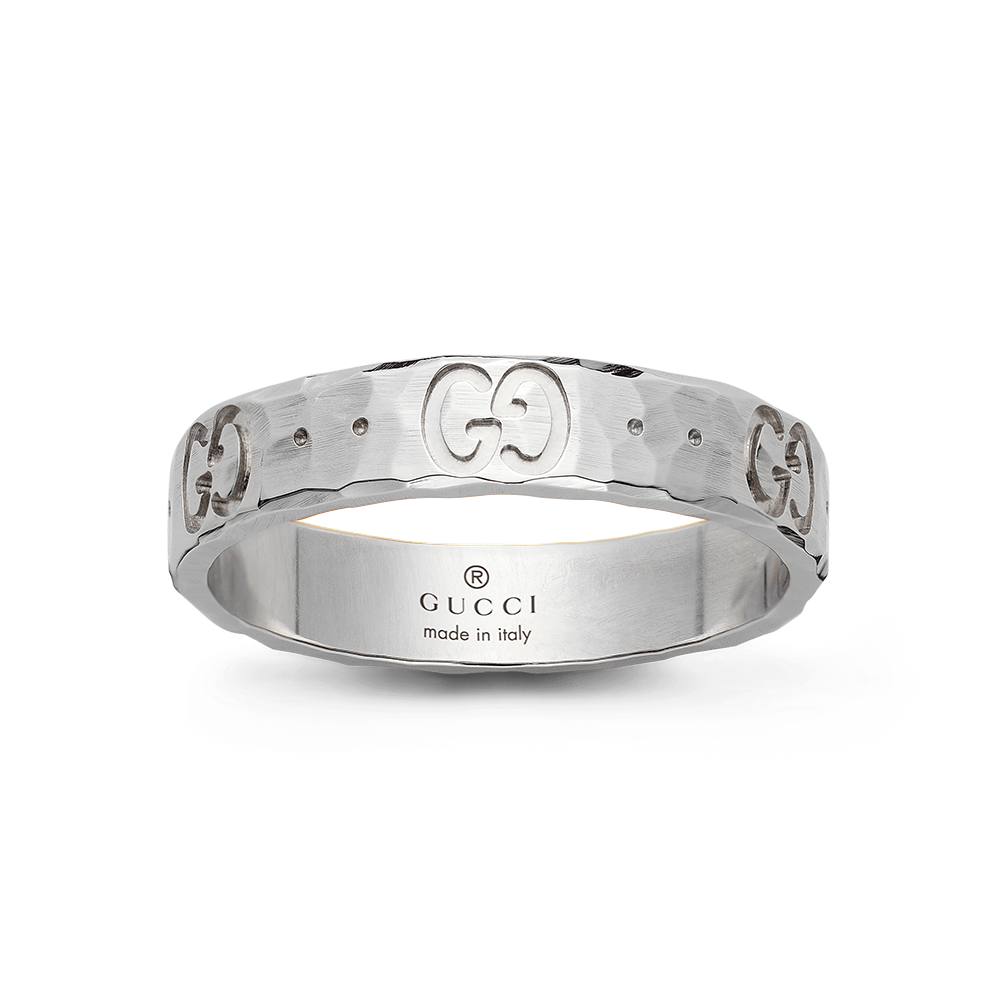 ef1848812 Gucci 18ct White Gold Icon Hammered Ring at Berry's Jewellers