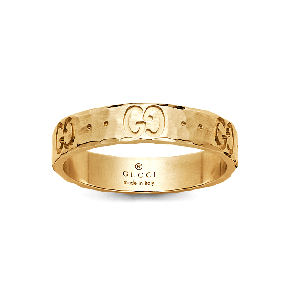 4868b268c Gucci 18ct Yellow Gold Icon Hammered Ring at Berry's Jewellers
