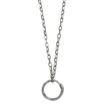 e87d30a3e Aged Sterling Silver Ouroboros Snake 90cm Necklace