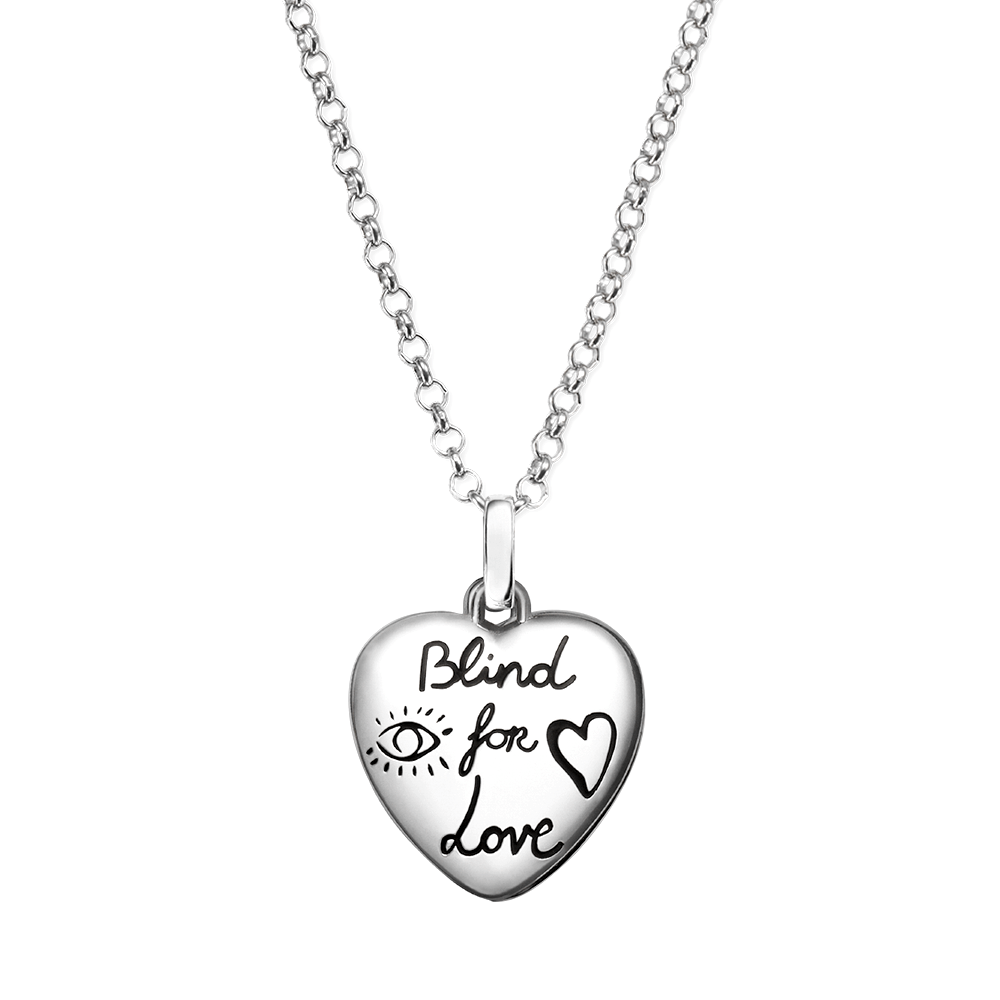 Gucci Silver Blind For Love Heart Necklace At Berry S