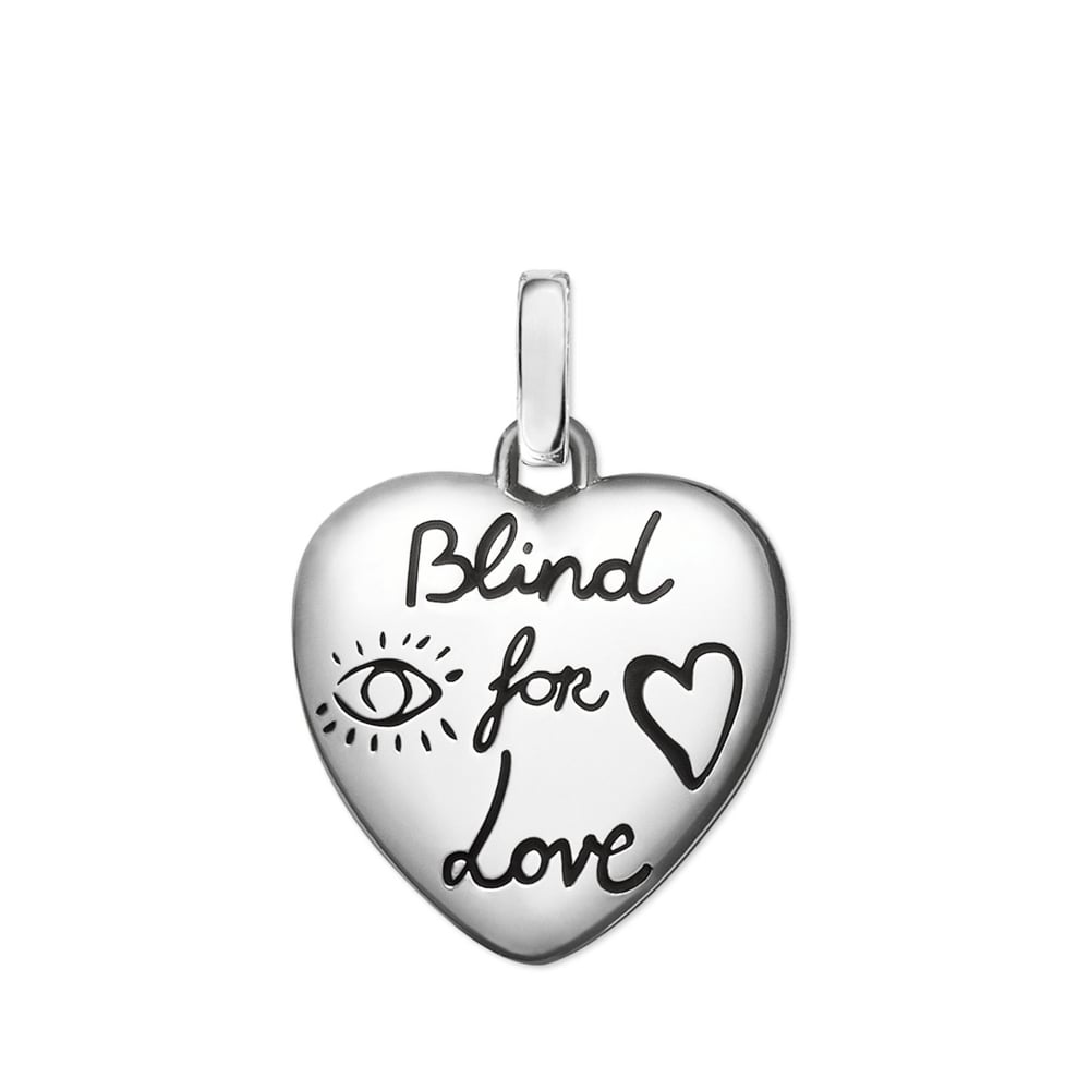 4fb604b907a Gucci Blind For Love Silver Heart Ghost Charm Pendant Necklace
