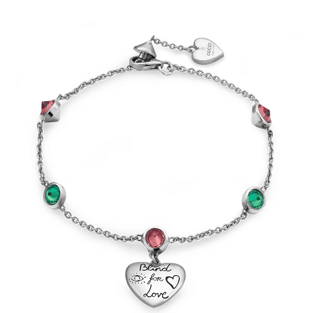 90df4ce3f3a Gucci Gucci Blind for Love Silver Heart Bracelet With Green And Pink  Zirconia
