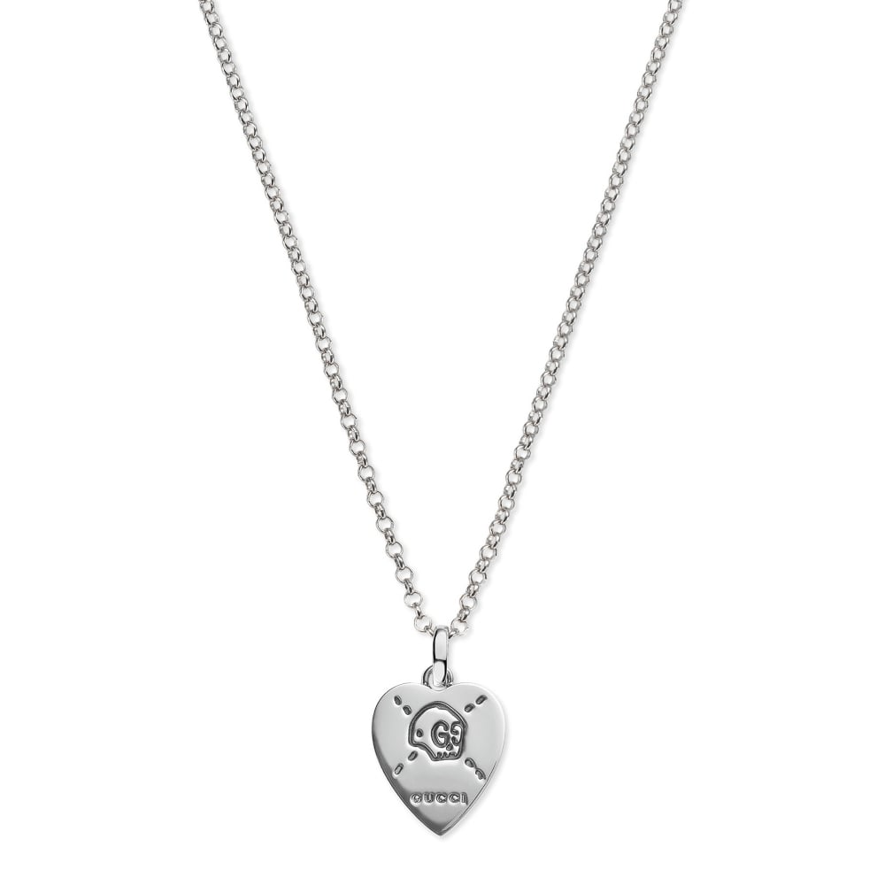 bbd4bfe8804 Gucci Blind For Love Silver Heart Ghost Charm Pendant Necklace