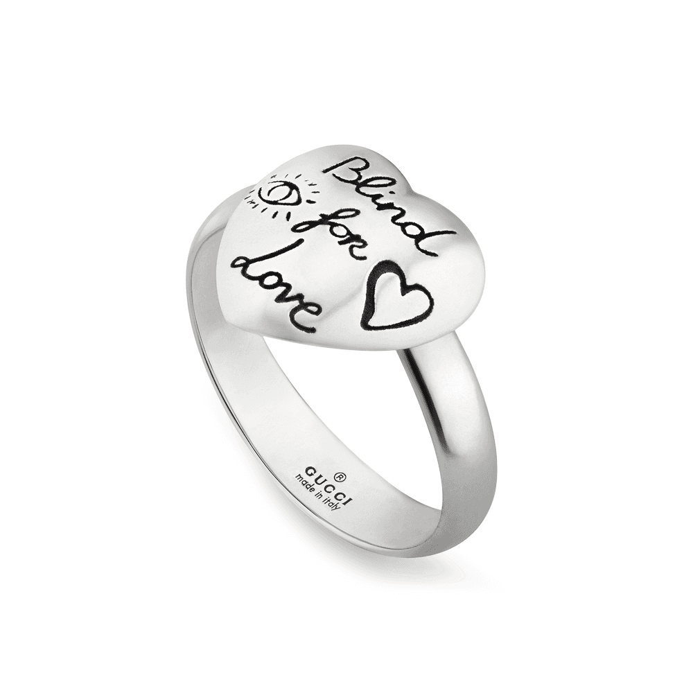 070b1cf89 Gucci Gucci Blind For Love Sterling Silver Aureco Black Heart Ring