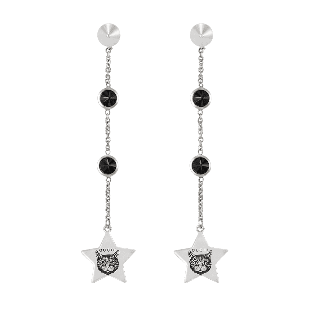 2551ec56e38 Gucci Gucci Blind For Love Sterling Silver Drop Earring With Black Spinel