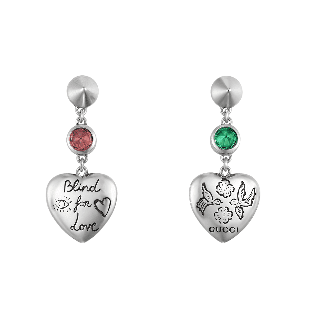 91f7cf273 Gucci Gucci Blind For Love Sterling Silver Earring With Pink & Green  Zirconia