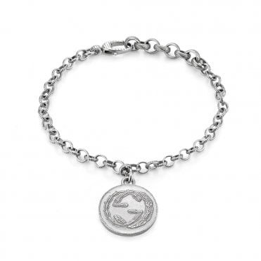 Coin Textured Silver Vintage Charm Bracelet