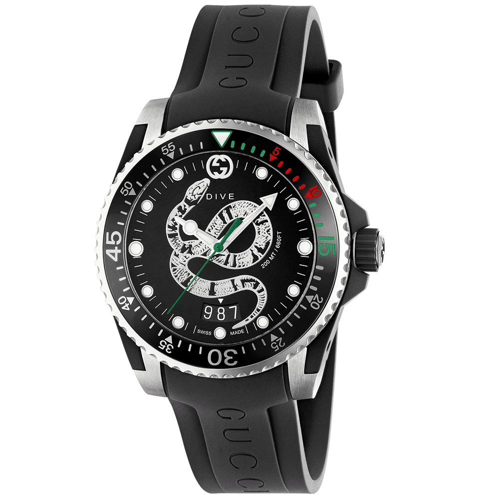 6491fb05a2a Gucci Dive 40mm Black Snake Dial   Rubber Strap Watch YA136323