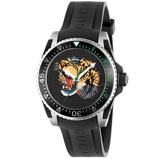 Gucci Dive 40mm Black Tiger Dial Rubber Strap Men's Watch
