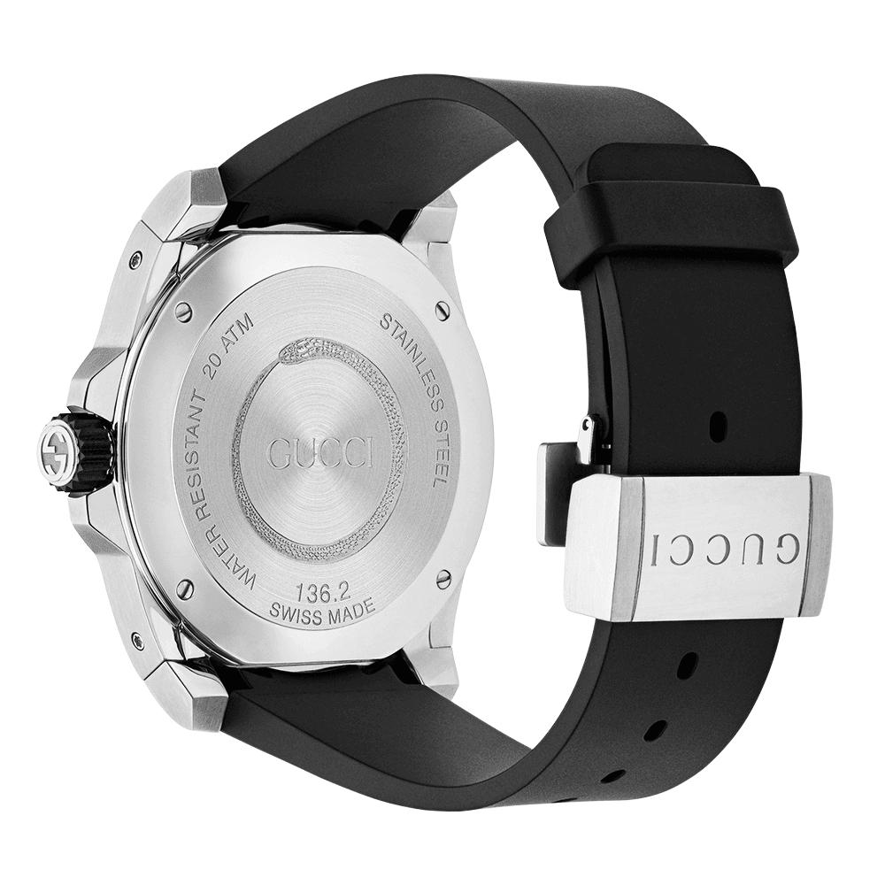 0776743dcdc Gucci Dive 45mm Black Snake Dial   Rubber Strap Watch YA136217