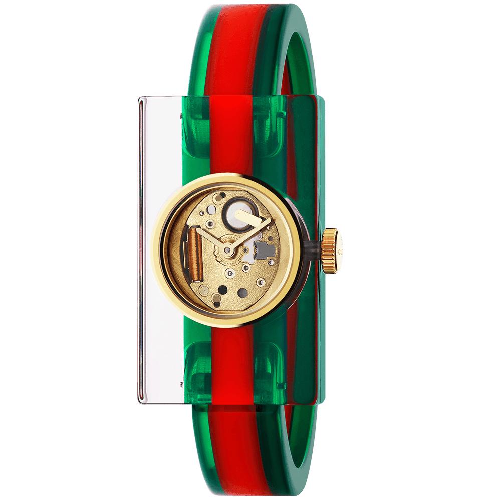 3aa9933be03 Gucci Fashion Show Plexiglas Case   Red Green Bangle Ladies Watch
