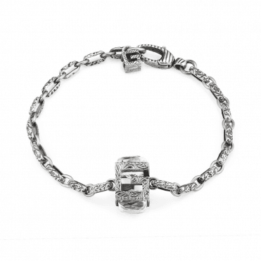17254bc0d G-Cube Aged Sterling Silver G Motif Bracelet With Synthetic Crystal  Gemstones New In