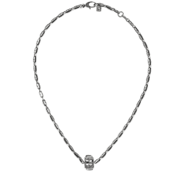 fbde347ba G-Cube Aged Sterling Silver G Motif Necklace With Synthetic Crystal  Gemstones